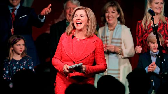 Rep. Marsha Blackburn, R-Tenn., speaks to supporters after she was declared the winner over former Gov. Phil Bredesen in their race for the U.S. Senate Tuesday, Nov. 6, 2018, in Franklin, Tenn. (AP Photo/Mark Humphrey)