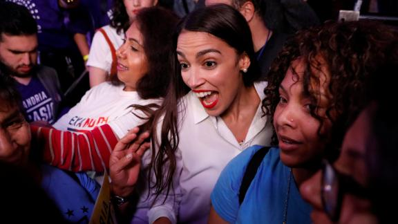 Democratic congressional candidate Alexandria Ocasio-Cortez greets supporters at her election-night party in New York. At 29, she is the youngest woman to be elected to Congress.