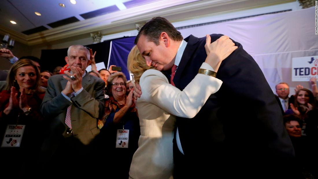 "US Sen. Ted Cruz is embraced by his wife, Heidi, at his election-night party in Houston. The Republican <a href=""https://www.cnn.com/2018/11/06/politics/texas-senate-ted-cruz/index.html"" target=""_blank"">defeated his Democratic challenger,</a> Beto O'Rourke, CNN projects."
