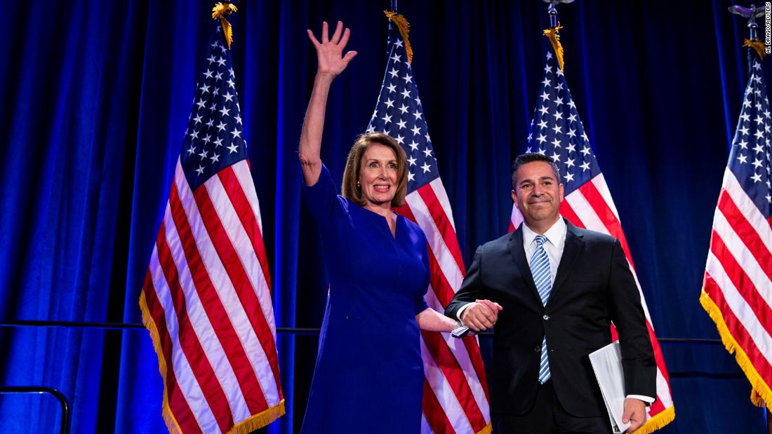 House Minority Leader Nancy Pelosi is introduced on stage by Democratic Congressional Campaign Committee Chairman Ben Ray Lujan as they react to the election results.