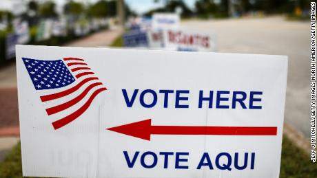 APOPKA, FL  - NOVEMBER 06: Signs point to a polling station on South Central Avenue on November 6, 2018 in Apopka, Florida. Turnout is expected to be high nationwide as Democrats hope to take back control of at least one chamber of Congress. (Photo by Jeff J Mitchell/Getty Images)