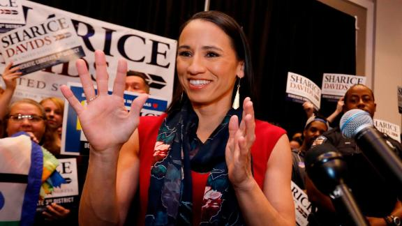 Democrat house candidate Sharice Davids reacts before speaking to supporters at a victory party in Olathe, Kansas, Tuesday, November 6, 2018. Davids defeated Republican incumbent Kevin Yoder to win the Kansas