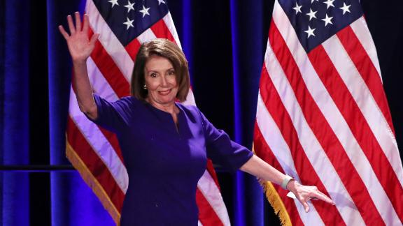 House Minority Leader Nancy Pelosi arrives onstage to celebrate the Democratic House wins at a Democratic celebration of the results of the U.S. midterm elections in Washington, U.S. November 6, 2018.