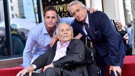 Cameron Douglas, Kirk Douglas and Michael Douglas attend the ceremony honoring Michael Douglas with star on the Hollywood Walk of Fame on November 06, 2018 in Hollywood, California.