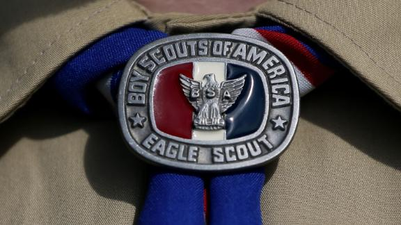 A file photo of the Eagle Scout badge, the highest rank of the Boy Scouts of America, which the organization opened to girls in 2017.
