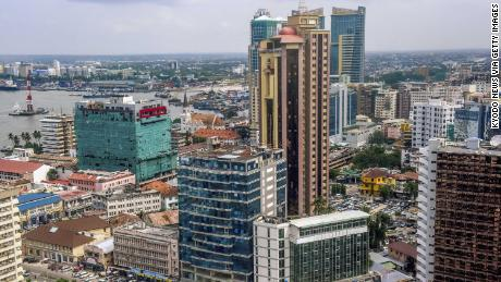 Photo taken April 25, 2018, shows high-rise buildings in downtown Dar es Salaam in Tanzania. (Kyodo) ==Kyodo (Photo by Kyodo News via Getty Images)