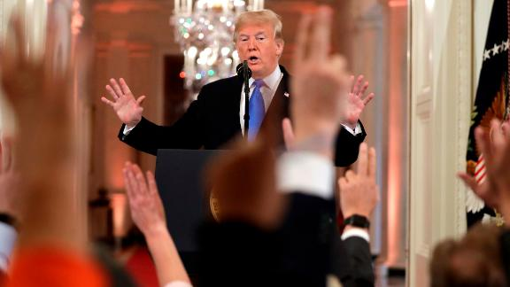 President Donald Trump reacts as reporters raise their hands to ask questions during a news conference in the East Room of the White House, Wednesday, Nov. 7, 2018, in Washington. (AP Photo/Evan Vucci)