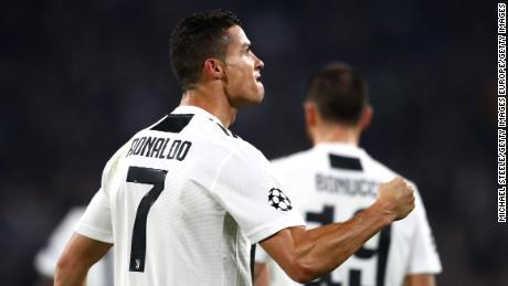 Cristiano Ronaldo celebrates scoring against Manchester United.
