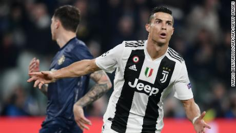 Juventus forward Cristiano Ronaldo reacts after opening the scoring against Manchester United.