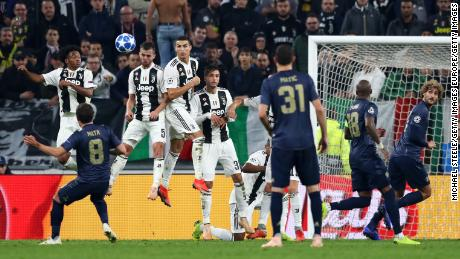 Juan Mata scores for Manchester United against Juventus.