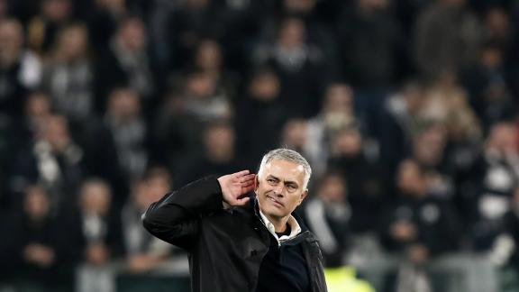 Mourinho gestures to the crowd after United beat Juventus in a Champions League group stage game. United
