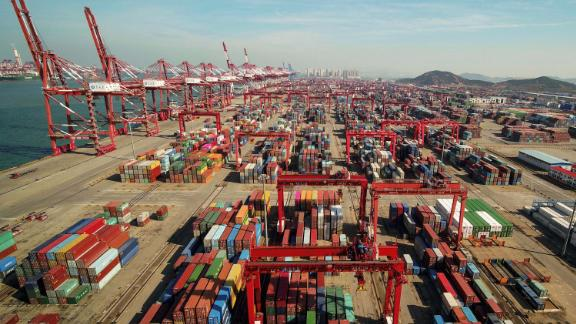 A port in Qingdao, Shandong province, China. US tariffs have made more than $250 billion of exports from China more expensive, prompting some companies to move production out of the country.