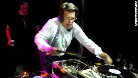 Emile Ratelband works as a disc jockey during an election campaign in 2003.
