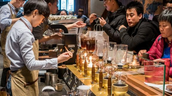 The world's biggest Starbucks, a 30,000-square-foot store, is in Shanghai.