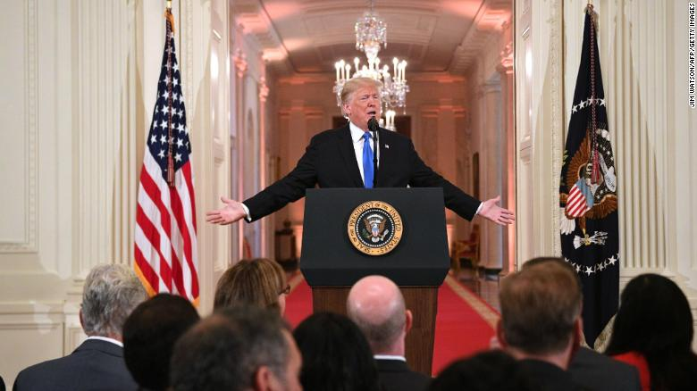 President Trump's treatment of the press at Wednesday's news conference varied from one minute to the next.