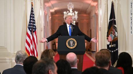 US President Donald Trump speaks during a press conference in the East Room of the White House in Washington, DC, on November 7, 2018. (Photo by Jim WATSON / AFP)        (Photo credit should read JIM WATSON/AFP/Getty Images)