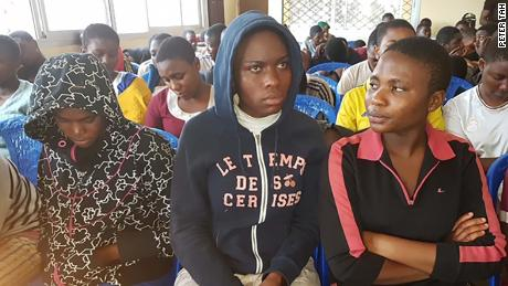 Released Cameroonian students seen for the first time in public as they met with Cameroon's northwest regional authorities at the Presbyterian Church in Bafut, north-west of Cameroon on November 7, 2018.