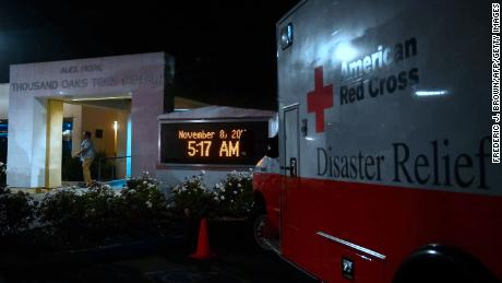 An American Red Cross Disaster Relief vehicle is seen outside the Thousands Oaks Teen Center on Thursday morning.