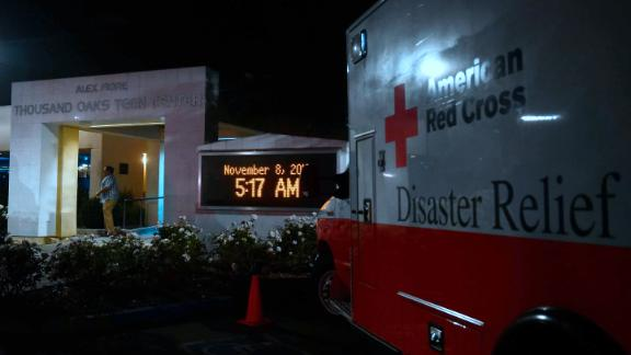 An American Red Cross Disaster Relief vehicle is seen outside the Thousands Oaks Teen Center where people have come for family assistance following the bar shooting.