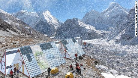 An artist's impression of a Vertical University campus in the shadow of Kanchenjunga, the world's third highest peak.