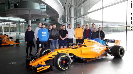 Members of the All Blacks visited the McLaren Technology Centre in Woking, England.