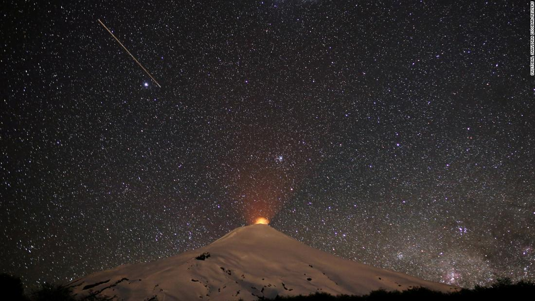 The Villarrica Volcano is seen from Pucon, Chile, on Tuesday, November 6.
