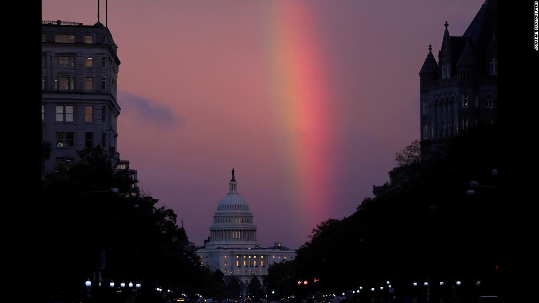 "A rainbow forms over the US Capitol as evening sets in on Election Day. <a href=""http://www.cnn.com/2018/11/01/world/gallery/week-in-photos-1102/index.html"" target=""_blank"">See last week in 22 photos</a>"