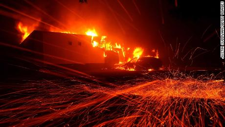 The Camp Fire -- California's deadliest wildfire on record -- burns in November in the city of Paradise.