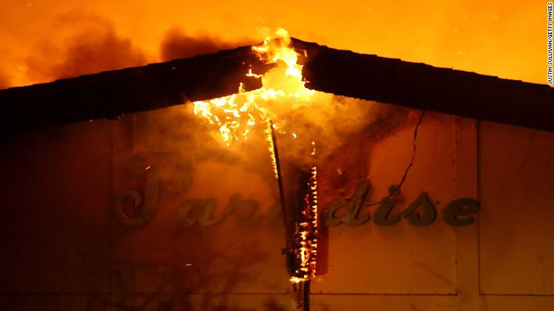 Flames consume the Paradise Skilled Nursing facility Thursday in Paradise, California.