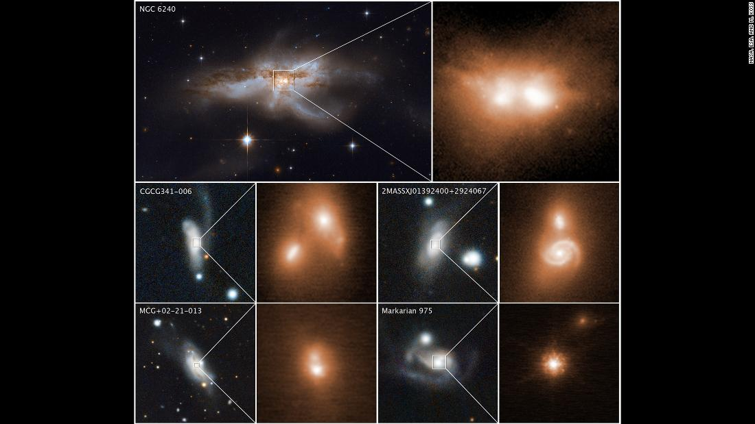 These images reveal the final stage of a union between pairs of galactic nuclei in the messy cores of colliding galaxies.