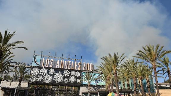 Smoke from a wildfire rises over the Los Angeles Zoo on  Friday.