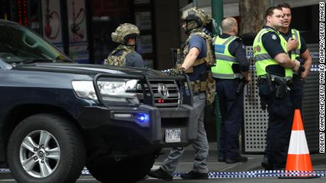 Police are seen in Bourke St on November 9, 2018 in Melbourne.
