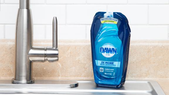 P&G's new Dawn version is easier to pack in a cardboard box.