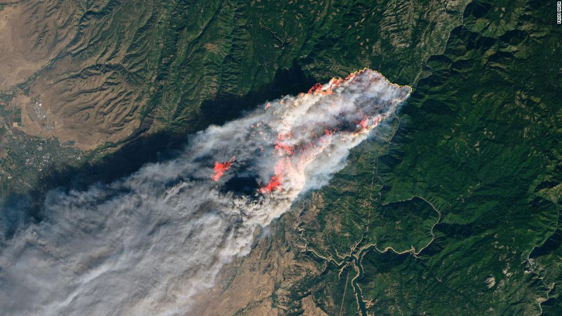 Here's what California's wildfires look like from space