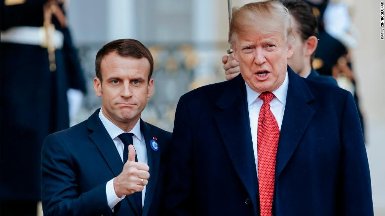 Macron and Trump prior to their meeting at the Elysee Palace on Saturday.