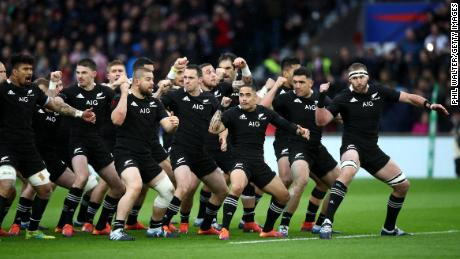 The New Zealand All Blacks perform the haka ahead of the game against England at Twickenham