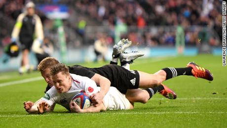 England wing Chris Ashton scored the opening try against New Zealand at Twickenham.