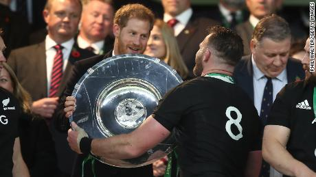 Prince Harry, the Duke of Sussex, handed All Blacks captain Kieran Read the Hillary Shield.