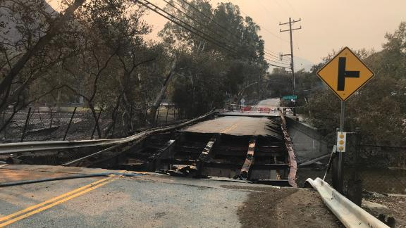 A bridge paved with asphalt near Agoura Hills,  California, was also heavily damaged.