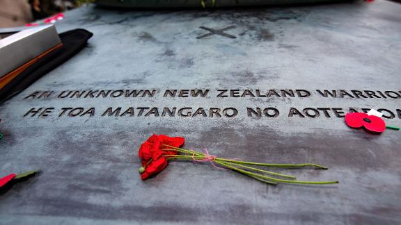 Poppies sit on the tomb during a Mounting of the Vigil and dressing of the Tomb of the Unknown Warrior commemoration starting the ceremony marking the 100th anniversary of the end of World War I at the National War Memorial in Wellington, New Zealand, on November 11, 2018. (Photo by Marty MELVILLE / AFP)        (Photo credit should read MARTY MELVILLE/AFP/Getty Images)