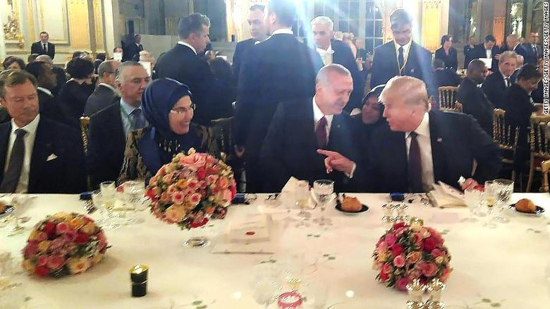 US President Donald Trump and Turkish President Recep Tayyip Erdogan sat next to each other at the dinner hosted by French President Emmanuel Macron Saturday evening in Paris.