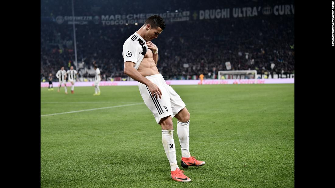 "Cristiano Ronaldo shows off his six-pack in celebration after scoring the opening goal of a Champions League match between Juventus and Manchester United on November 7. Manchester United, one of Ronaldo's former teams, <a href=""https://edition.cnn.com/2018/11/07/football/juventus-man-utd-champions-league/index.html"" target=""_blank"">came back to win the match 2-1. </a>"