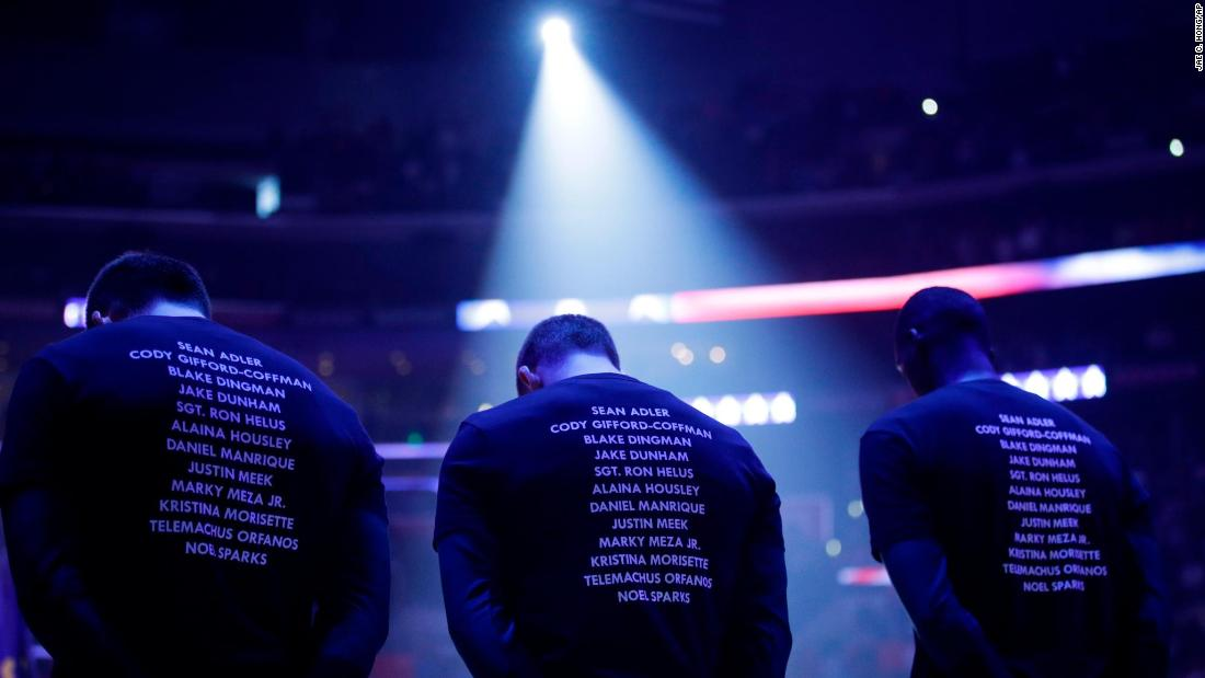 "NBA players of the Milwaukee Bucks and Los Angeles Clippers wear T-shirts bearing the names of the 12 victims killed in<a href=""https://www.cnn.com/2018/11/08/us/thousands-oaks-california-bar-shooting/index.html"" target=""_blank""> Wednesday night's shooting at Borderline Bar & Grill in Thousand Oaks</a>, California, before a game on November 10 in Los Angeles. The front of the shirts said ""enough"", <a href=""https://bleacherreport.com/articles/2805395-clippers-bucks-wear-enough-shirts-with-the-names-of-thousand-oaks-victims"" target=""_blank"">an apparent call to action to end gun violence</a>."