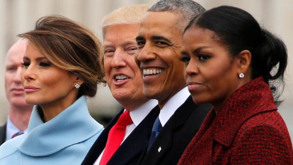 U.S. President Donald Trump and first lady Melania Trump see off former U.S. President Barack Obama and his wife Michelle Obama as they depart following Trump