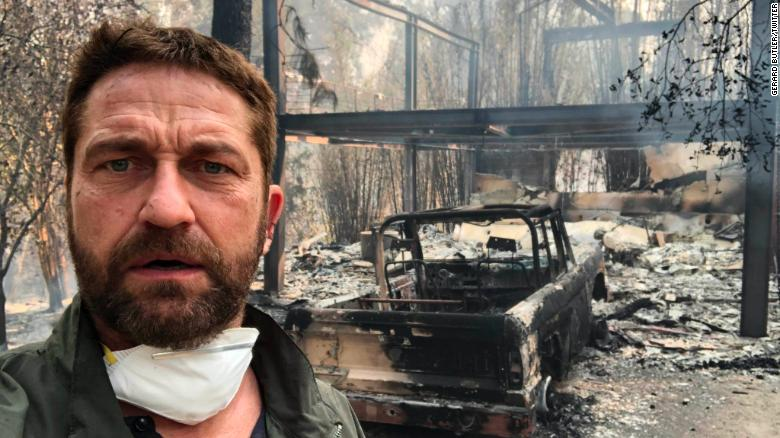 "From Gerard Butler/Twitter: ""Returned to my house in Malibu after evacuating. Heartbreaking time across California. Inspired as ever by the courage, spirit and sacrifice of firefighters. Thank you @LAFD. If you can, support these brave men and women at http://SupportLAFD.org"""