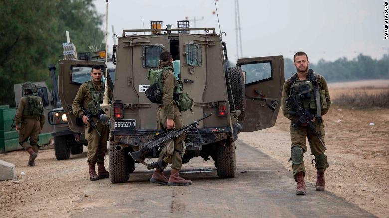 Israeli soldiers near the southern Israel-Gaza border on Monday.