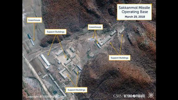Satellite photos of North Korea's Sakkanmol Missile Operating Base, March 29, 2018.