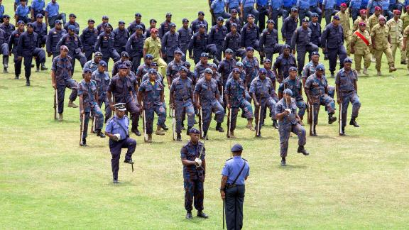 This photo taken on November 5, 2018, shows Papua New Guinea security forces on parade in Port Moresby, the host city for the upcoming Asia-Pacific Economic Cooperation (APEC) summit from November 17.
