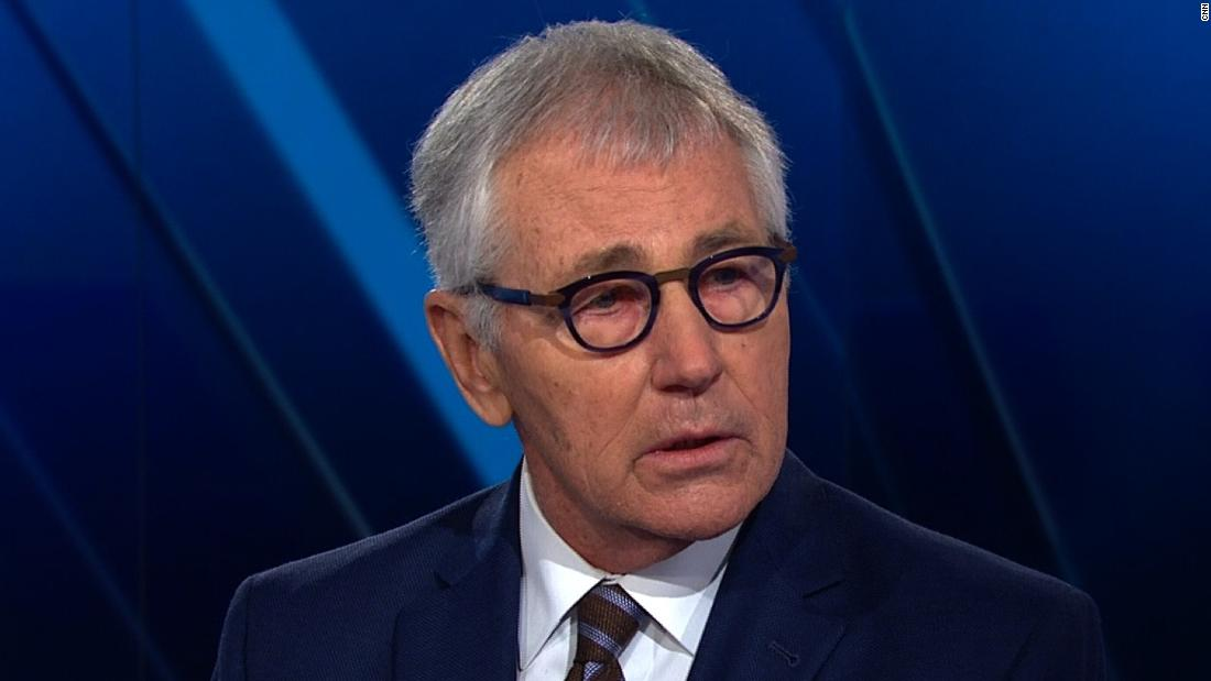 Hagel says Trump 'let down our country' by skipping cemetery visit