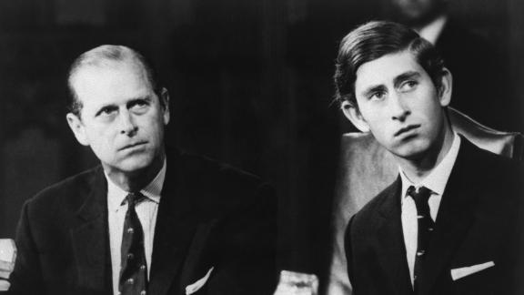 Prince Charles attends a conference with his father in November 1970.